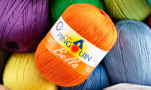 Linha de crochê com espessura suave e cor sóbria