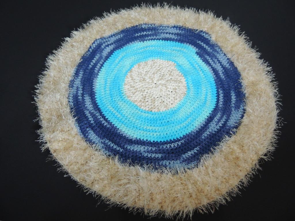 Tapete de crochê em espiral