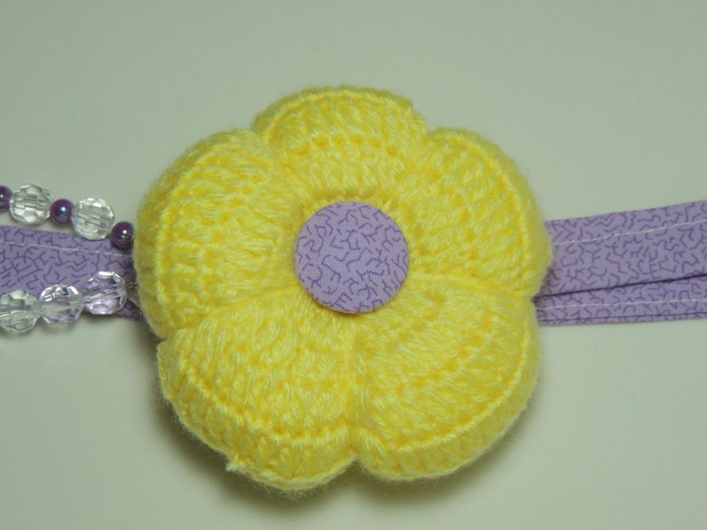flor de crochê pingente