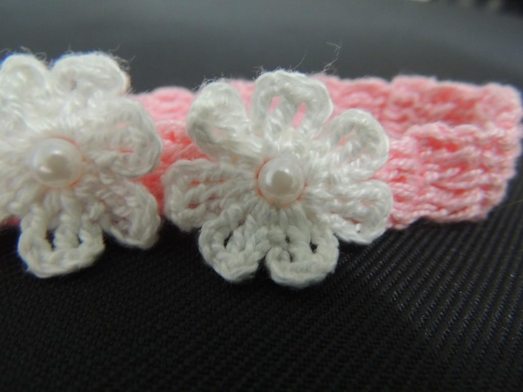 Tiara de Crochê com Florzinhas-2