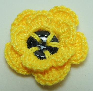 Flor de Crochê em Botões - amarela