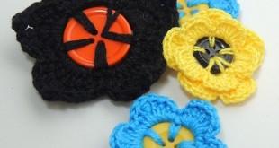 Flor de Crochê em Botões - várias juntas