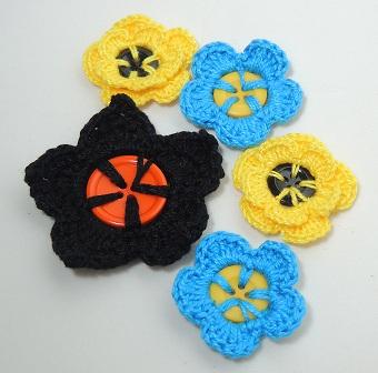 Flor de Crochê em Botões - várias